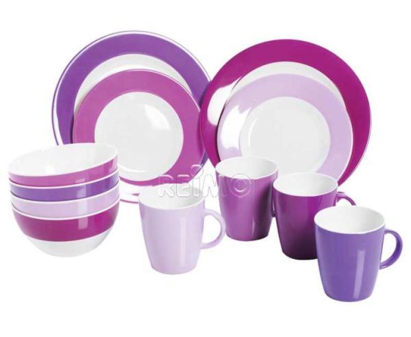 gimex melamine servies purple rain 16 stuks voor 4. Black Bedroom Furniture Sets. Home Design Ideas